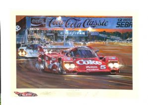 "PORSCHE 962s Sebring 1986 ""Duel at Sunset"" by Nick Watts. SIGNED Akin, Stuck & Bell"